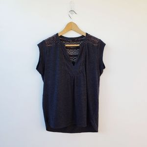 Prana Charcoal Gray Crochet Eyelet T-Shirt Large